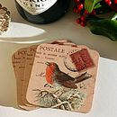 Set Of 'Christmas Robin' Vintage Coasters