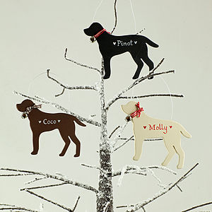 Personalised Christmas Labrador Dog Decoration - tree decorations