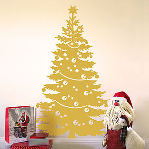 Decorated Christmas Tree Wall Sticker - decorative accessories