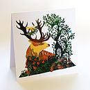 Stag And Bird Greetings Card