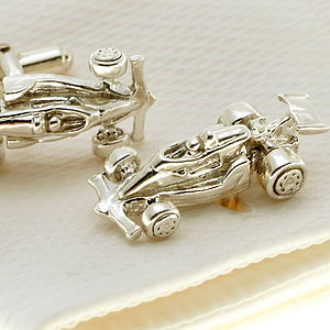 Solid Silver F1 Cufflinks - men's jewellery