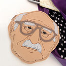 Embroidered Leather Old Man Portrait Purse