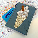 Embroidered Ice Cream Leather Card Holder