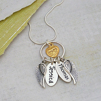 Personalised Silver Name Charm Cluster Necklace