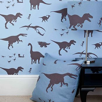 'Dya-think-E-saurus' Blue Dinosaur Wallpaper