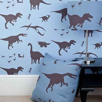 'Dya-think-E-saurus' Blue Dinosaur Wallpaper