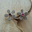 Handmade Silver And Garnet Daisy Earrings