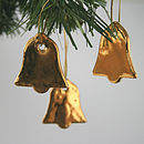 Three Little Gold Bell Decorations