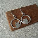 Handmade Silver Fox Drop Earrings