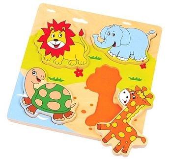 Four Piece Chunky Wooden Animal Puzzle