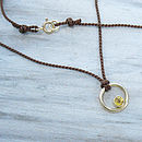Yellow Sapphire 18ct Gold Circle Pendant On Silk Cord
