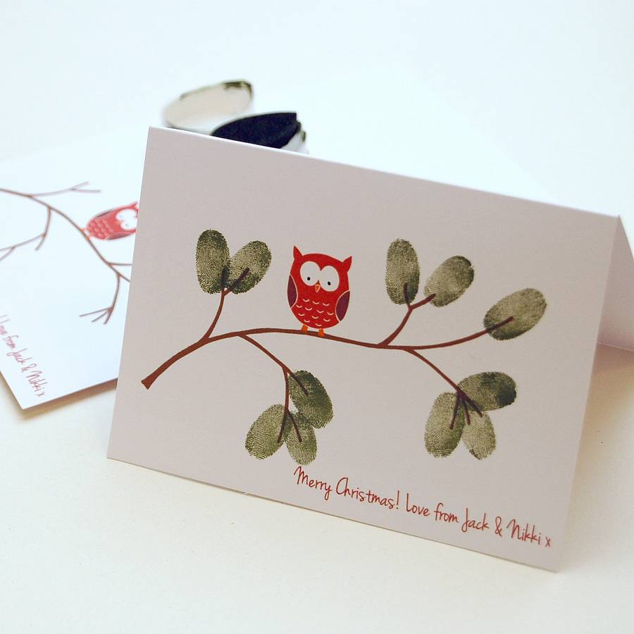 Christmas Owl Fingerprint Cards By Love Those Prints