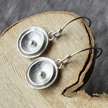 Handmade Silver Poppy Drop Earrings