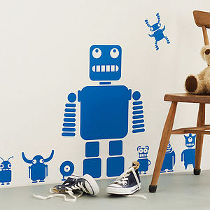 Robots And Aliens Wall Sticker Set - gifts for geeks