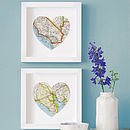 Map Location Heart Wedding Anniversary Print 28cm