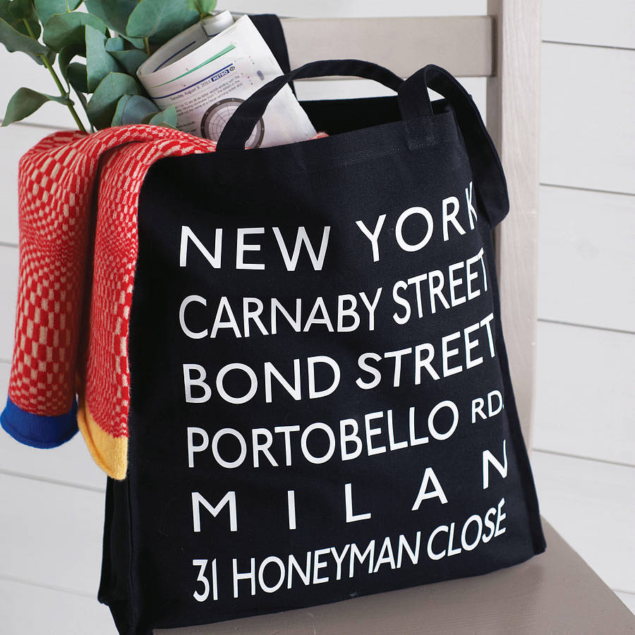 Personalised Destinations Canvas Shopper Bag by More Than Words