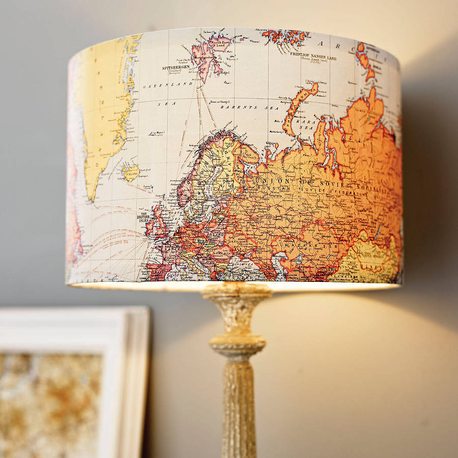 handmade vintage map lampshade by rosie 39 s vintage. Black Bedroom Furniture Sets. Home Design Ideas