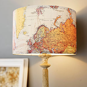 Handmade Vintage Map Lampshade - bedroom