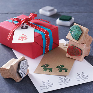 Christmas Card Rubber Stamp Set