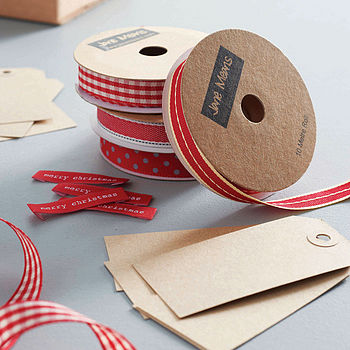 Vintage Red, Red Gingham, Red Denim and Red/Grey Dotty Ribbon