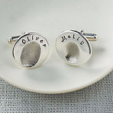 Personalised Round Fingerprint Cufflinks - father's day