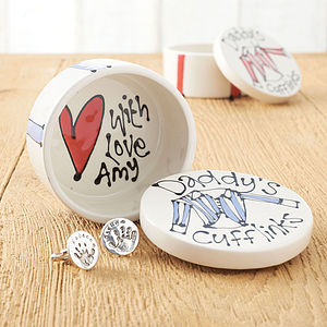 Personalised Ceramic Cufflinks Box - birthday gifts