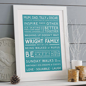 Personalised Family Values Print - typography