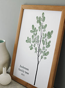 Personalised Family Thumbprint Tree Poster - gifts for mothers