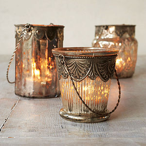 Mercury And Glass Tea Light Hanging Candle Holder - lighting