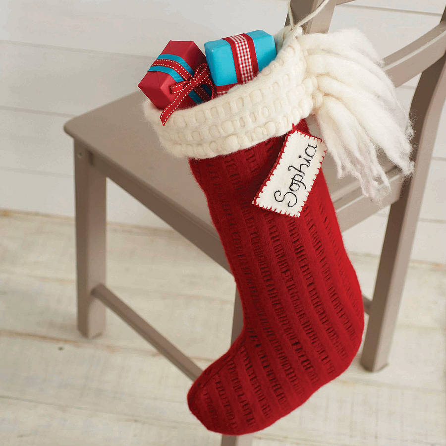 Personalised handmade merino christmas stocking by andrea for Custom made christmas stockings