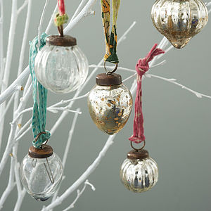 Set Of 12 Recycled Dew Drop Glass Baubles