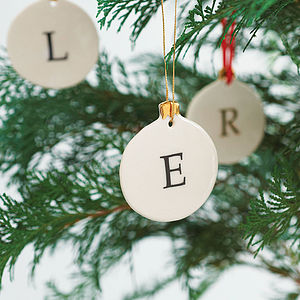Personalised Initial Bauble Decoration - tree decorations
