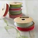 Christmas Ribbon Set - Sage Gingham and Red Stitched