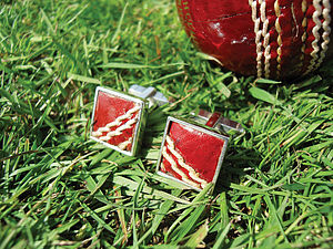 Cricket Ball Silver Cufflinks - cufflinks