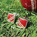 Cricket Ball Silver Cufflinks