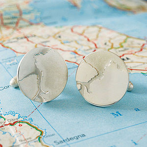 Personalised Coastline Cufflinks - wedding jewellery