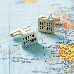 Personalised Silver Location Cufflinks - personalised jewellery for men