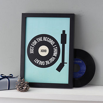 Personalised 'Just For The Record' Print