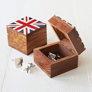 Union Jack Wooden Cufflink Box - storage