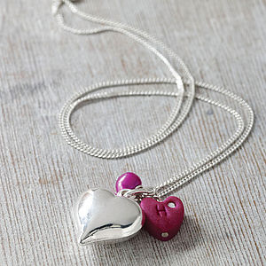 Silver Puff Heart Necklace