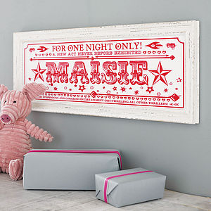 Personalised 'One Night Only' Name Print - gifts under £25