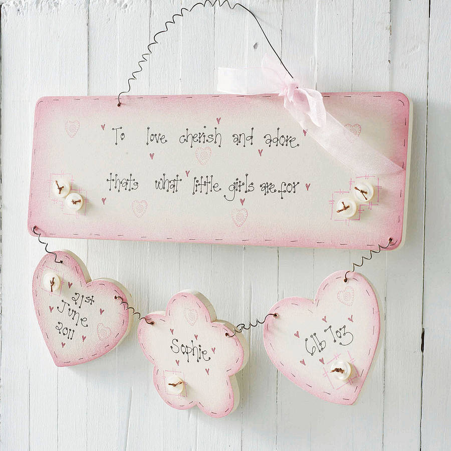 Personalised Handmade Baby Girl Birth Plaque Keepsake By