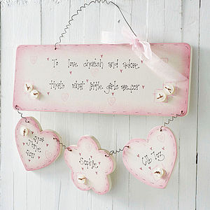 Personalised Handmade Baby Girl Birth Plaque - children's living
