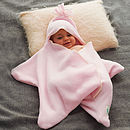 Star fleece baby wrap pale pink