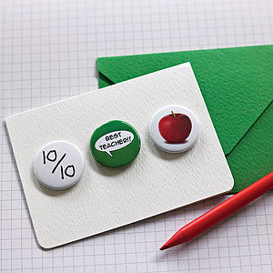 'Best Teacher' Badge Or Magnet Card - teacher cards
