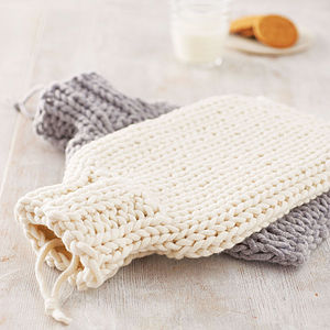 Hand Knitted Hot Water Bottle Cover - for keeping cosy
