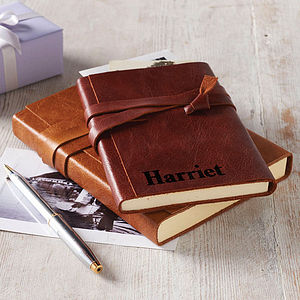 Personalised Wraparound Leather Journal - stationery