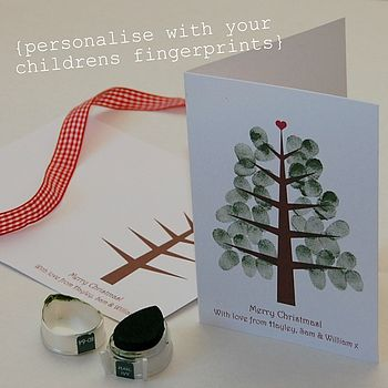Children's Fingerprint Christmas Tree Cards