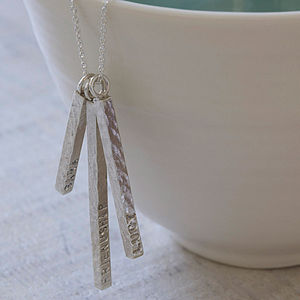 Personalised Silver Bar Necklace - inspired by family
