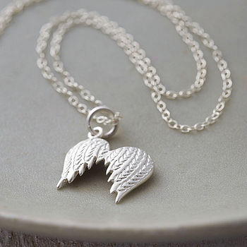 Angel Wings Necklace With Personalised Message